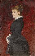 Axel Jungstedt Portrait - Lady in Black Dress oil painting