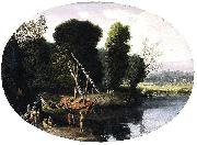 BONZI, Pietro Paolo Italianate River Landscape oil painting
