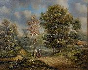 Barend Cornelis Koekkoek Walk in the woods oil