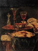 Christian Berentz Still-Life with Crystal Glasses and Sponge-Cakes oil