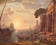 Claude Lorrain Hafen beim Sonnenuntergang oil painting reproduction