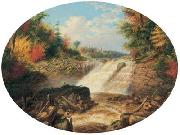 Cornelius Krieghoff A Jam of Saw Logs on the Upper Fall in the Little Shawanagan River [Sic] - 20 Miles Above Three Rivers, oil