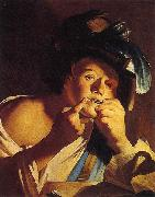 Dirck van Baburen Man Playing a Jew s Harp oil
