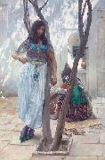 Ferdinand Max Bredt In a courtyard, Tunis oil painting artist