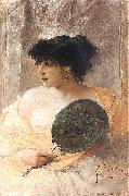 Franciszek zmurko Woman with a fan oil painting