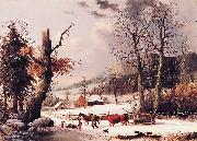 George Henry Durrie Gathering Wood for Winter oil painting on canvas