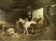 George Morland The inside of a stable oil painting artist