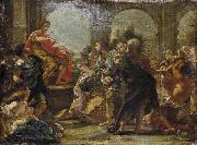 Giovanni Battista Gaulli Called Baccicio Painting depicting historical episode between Scipio Africanus and Allucius oil painting