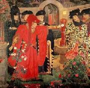 Henry Arthur Payne Plucking the Red and White Roses in the Old Temple Gardens oil painting artist