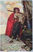 Howard Pyle The Buccaneer was a Picturesque Fellow: illustration of a pirate, dressed to the nines in piracy attire. oil painting artist