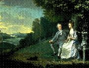 James Holland Portrait of Sir Francis and Lady Dashwood at West Wycombe Park oil painting artist