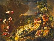 Jan Davidz de Heem Fruit and a Vase of Flowers oil painting artist