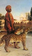 Jean-Joseph Benjamin-Constant Palace Guard with Two Leopards oil