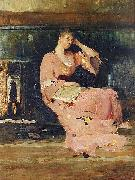 Vaclav Brozik A Seated Lady oil