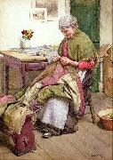 Walter Langley.RI The Old Quilt oil painting artist