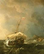 Willem Van de Velde The Younger An English Ship in a Gale Trying to Claw off a Lee Shore oil painting