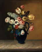 William Buelow Gould Still life, flowers in a blue jug oil on canvas painting by Van Diemonian (Tasmanian) artist and convict William Buelow Gould (1801 - 1853). oil painting artist