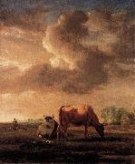 Adriaen van de Velde Cows on a Meadow oil painting