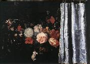 Adriaen van der Spelt Flower Still-Life with Curtain oil painting