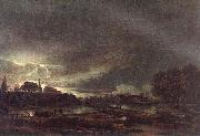 Aert van der Neer Small Town at Dusk oil painting artist