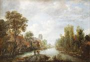 Aert van der Neer Landscape with waterway oil painting artist
