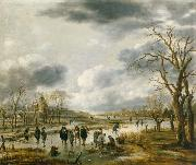 Aert van der Neer Scene on the ice outside the town walls oil painting artist