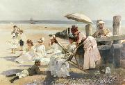 Alexander Mann Shores of Bognor Regis oil painting