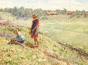 Alf Wallander Berry Picking Children a Summer Day oil painting