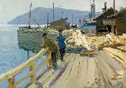 Anatoli Ilych Vasiliev Baikal Lake boat station. At the moorage oil painting