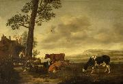 Anthonie van Borssom Landscape with cattle oil painting