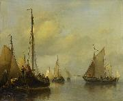 Antonie Waldorp Fishing Boats on Calm Water oil painting