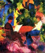 August Macke Paar am Gartentisch oil painting reproduction