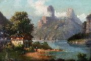 August Peters Cottage with lake and mountains oil painting