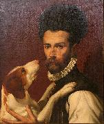 Bartolomeo Passerotti Portrait of a Man with a Dog oil painting