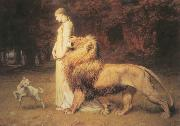 Briton Riviere Una and Lion oil painting