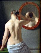 Christoffer Wilhelm Eckersberg Woman Standing in Front of a Mirror oil painting on canvas
