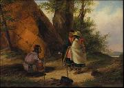 Cornelius Krieghoff Indians Meeting by a Teepee oil