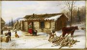 Cornelius Krieghoff Chopping Logs Outside a Snow Covered Log Cabin oil