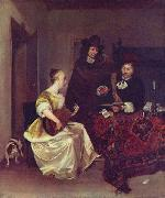 Gerard ter Borch the Younger A Woman playing a Theorbo to Two Men oil painting