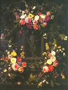 Jan Philip van Thielen Garland of flowers surrounding Christ figure in grisaille oil painting artist