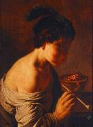 Jan lievens A youth blowing on coals. oil painting artist