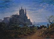 Karl friedrich schinkel Gothic Church on a Rock by the Sea oil painting artist