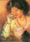 Lovis Corinth Dame mit Weinglas oil painting reproduction