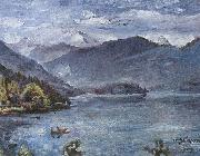 Lovis Corinth Walchensee, blaue Landschaft oil painting reproduction