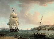 Thomas Whitcombe A crowded flagship of an Admiral of the Blue passing Mount Edgcumbe as she closes into port at Plymouth oil painting