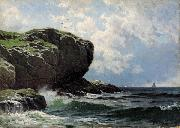 Alfred Thompson Bricher Rocky Head with Sailboats in Distance oil