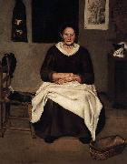 Antonio Puga Old Woman Seated oil