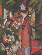 August Macke Walk in flowers oil painting reproduction