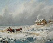Cornelius Krieghoff Ice Road, Near Quebec oil painting artist