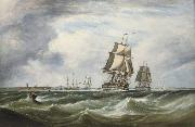 Ebenezer Colls A Royal Naval Squadron running out of Portsmouth oil painting